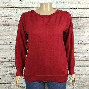 Just Fab Red Round Neck Knit Pullover Sweater